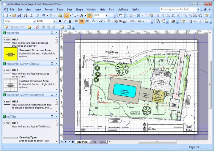 Visisiteplan set visio app for surveys and site plans for Visio garden template